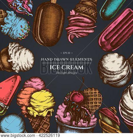 Design On Dark Background With Ice Cream Bowls, Ice Cream Bucket, Popsicle Ice Cream, Ice Cream Cone