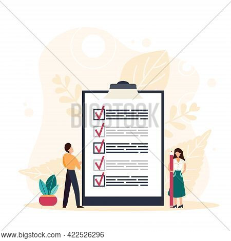 Woman Holding A Pencil Completing Checklist On Clipboard. Successfully Complete Business Assignments