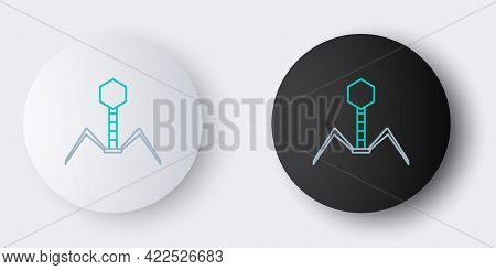 Line Bacteria Bacteriophage Icon Isolated On Grey Background. Bacterial Infection Sign. Microscopic