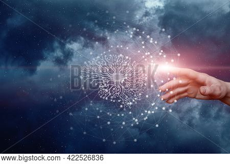 Artificial Intelligence Research Study Concept. Hand Clicks An Artificial Brain On The Background Of