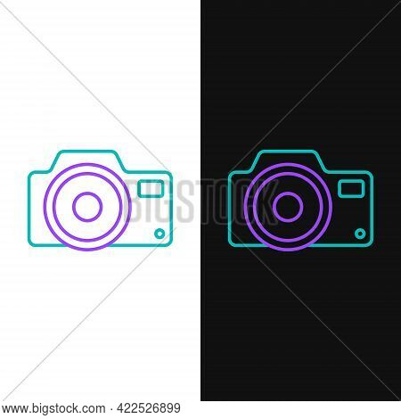 Line Photo Camera Icon Isolated On White And Black Background. Foto Camera Icon. Colorful Outline Co