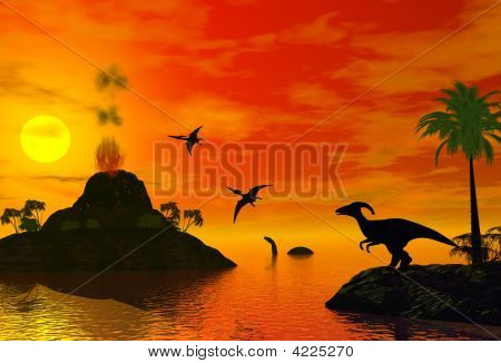Sunset Of Dinosaur