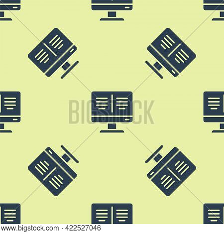 Blue Online Book On Monitor Icon Isolated Seamless Pattern On Yellow Background. Internet Education