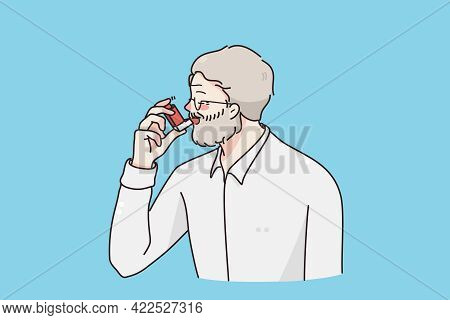 Suffering From Asthma Concept. Grey Haired Man Cartoon Character Standing Using Special Inhalator Fo