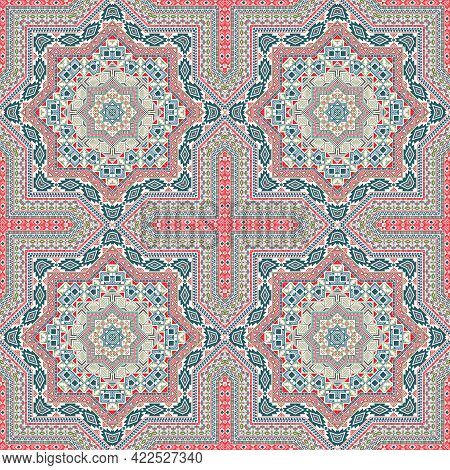 Abstract Italian Maiolica Tile Seamless Pattern. Geometric Texture Vector Swatch. Coverlet Print Des