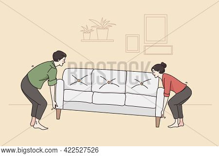 New Apartment And Relocating Concept. Young Smiling Couple Man And Woman Cartoon Characters Carrying