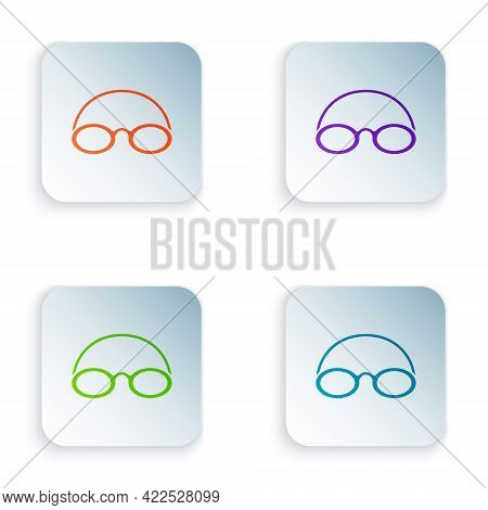 Color Glasses And Cap For Swimming Icon Isolated On White Background. Swimming Cap And Goggles. Divi