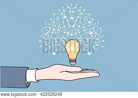 New Idea, Startup, Innovation Concept. Human Hand Holding Bright Light Bulb With New Innovative Idea