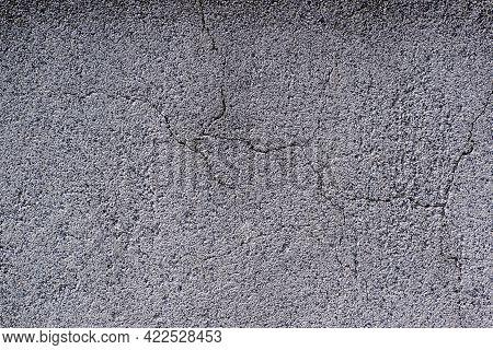 Gray Rough Cracked Concrete Texture Background. Texture Of Old Cracked Concrete Wall. Rough Gray Con