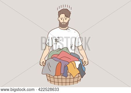 Laundry And Washing Clothes Concept. Young Frustrated Stressed Man Cartoon Character Standing And Ho