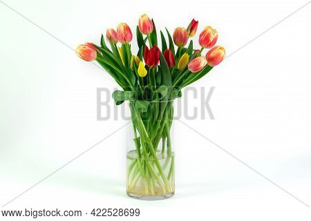 Flower Bouquet Isolated On White Background. Bunch Of Flowers.