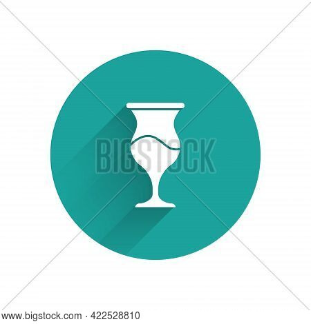 White Jewish Goblet Icon Isolated With Long Shadow. Jewish Wine Cup For Kiddush. Kiddush Cup For Sha