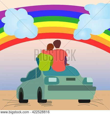 Two Gay Men Sitting On Car And Looking At Rainbow. Two Gay Guys Hugging. Lgbt Pride Month. Lgbt Para