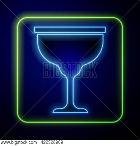 Glowing Neon Jewish Goblet Icon Isolated On Blue Background. Jewish Wine Cup For Kiddush. Kiddush Cu