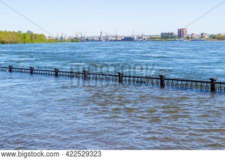 Flooded City Embankment In Krasnoyarsk, Russia. Flooding Of Yenisei River In Spring During Melting O