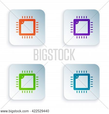 Color Computer Processor With Microcircuits Cpu Icon Isolated On White Background. Chip Or Cpu With