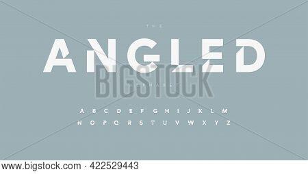 Geometric Alphabet Letter Font. Modern Logo Letters Inner Cut Serifs. Minimalistic Vector Typographi
