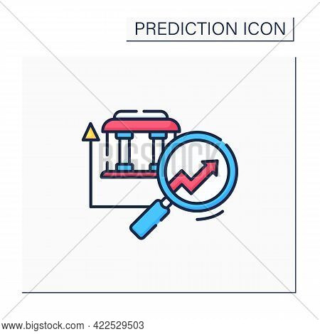 Banking Predictive Analytics Color Icon. Banking System.careful, Detailed Research. Business Predict