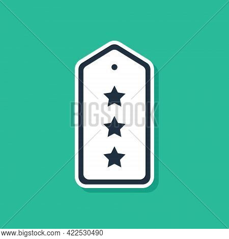 Blue Military Rank Icon Isolated On Green Background. Military Badge Sign. Vector