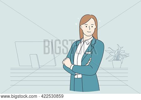 Working In Hotel Concept. Portrait Of Young Smiling Woman Working As Receptionist Standing At Desk I