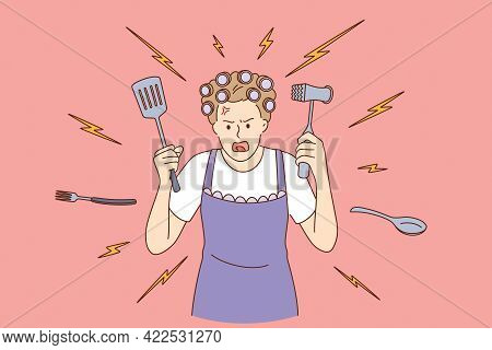 Crazy Housewife At Home Concept. Young Crazy Angry Woman Cartoon Character In Apron Cooking With Coo