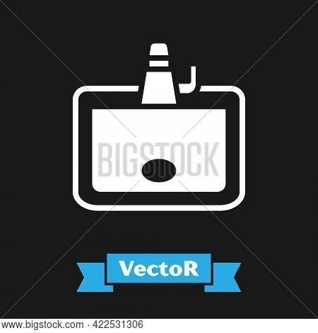 White Washbasin With Water Tap Icon Isolated On Black Background. Vector
