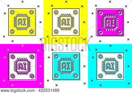 Set Computer Processor With Microcircuits Cpu Icon Isolated On Color Background. Chip Or Cpu With Ci