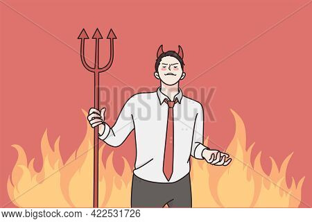 Anger And Rage In Business Concept. Young Angry Furious Businessman Cartoon Character Standing And H