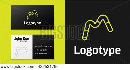Logotype Line Jelly Worms Candy Icon Isolated On Black Background. Logo Design Template Element. Vec
