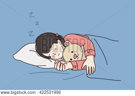 Comfortable Rest Sleep During Night Concept. Little Girl Cartoon Character Child Sleeping With Eyes