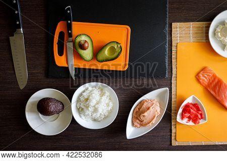 Preparing Sushi. Top View Of Sushi Ingredients