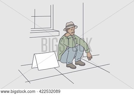 Jobless People During Great Depression Concept. Young Stressed Unhappy Man Cartoon Character Sitting