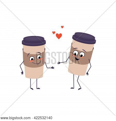 Cute Cup Of Coffee Characters With Love Emotions, Smiling Face, Arms And Legs. The Funny Or Happy He