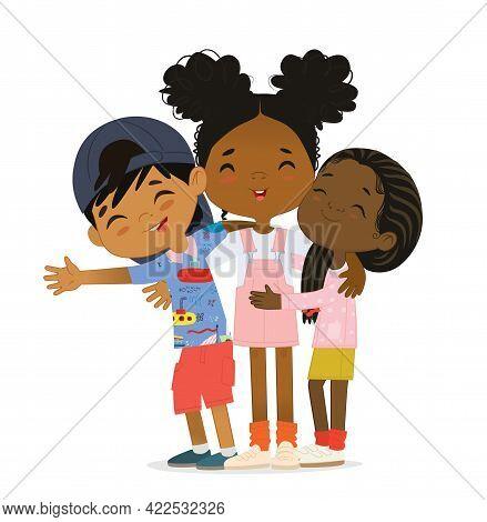Happy African American Multi Aged Kids Hug. Happy Kids Embrace