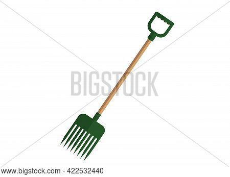 Illustration Of A Green Pitchfork With A Wooden Handle. Garden Cleaning Tools