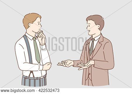 Business Communication And Expertise Concept. Young Businessmen Colleagues Workers Standing And Talk
