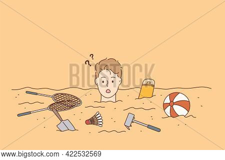 Summer Holidays, Beach, Recreation Concept. Portrait Of Shocked Boy Cartoon Character With Stuck Hea