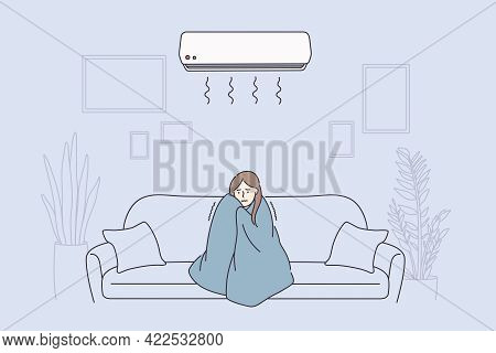 Flu, Fever, Feeling Cold Concept. Young Sad Woman Cartoon Character In Warm Blanket Sitting On Sofa