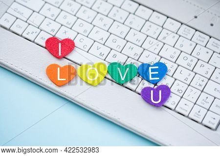 Online Dating, Computer Keyboard With Symbol Heart In Lgbt Pride Colors. Chatting On Internet, Socia