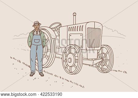 Harvest And Working On Farm Concept. Smiling Man Cartoon Character Farmer Agricultural Worker Standi
