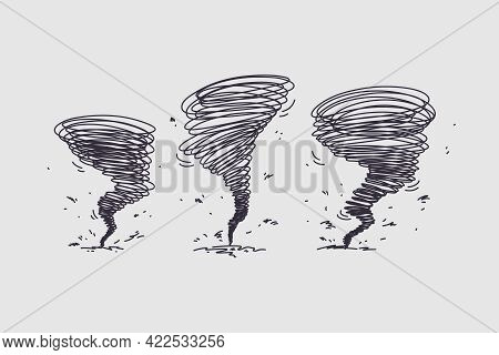 Tornado Hurricane On Nature Concept. Silhouettes Of Natural Disasters Tornado With Center Going Clos