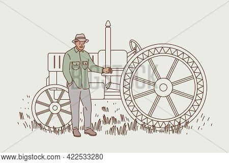 Agriculture And Harvest Concept. Smiling Man Cartoon Character Farmer Agricultural Worker In Hat Sta