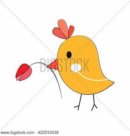 Cute Bird With Flower In Beak. Vector Illustration.
