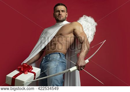 Valentines Day Man Angel. Sexy Guy With Angels Wings. Cupid. Amour. February 14. Arrow Of Love. Isol