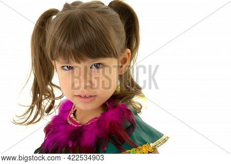 Close Up Portrait Of Girl Wearing Ethnic Costume. Beautiful Preteen Girl Dressed Colorful Dance Cost