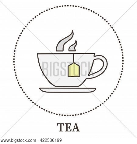 Abstract Cup With Tea Standing On A Saucer Saucer - Vector Illustration