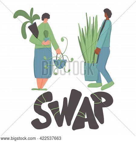 Swap Embelem. Plant Lovers Club Members With Indoor Plants And Stylized Text. Florists Surrounded By