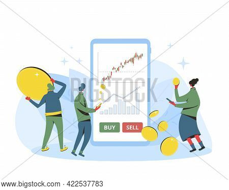 Investment Concept. Minor Shareholders Getting Money With Mobile App. Stock Market Boom. Growth In E