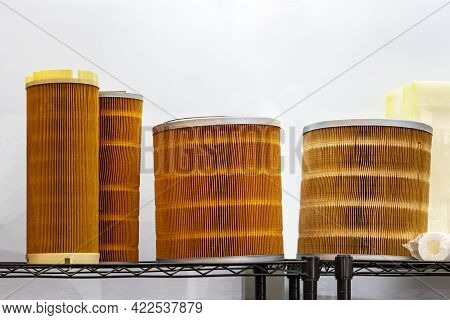 Various Size Filter For Cleaning Air Or Gas Fluids Or Remove Debris Contaminants In Industrial Work