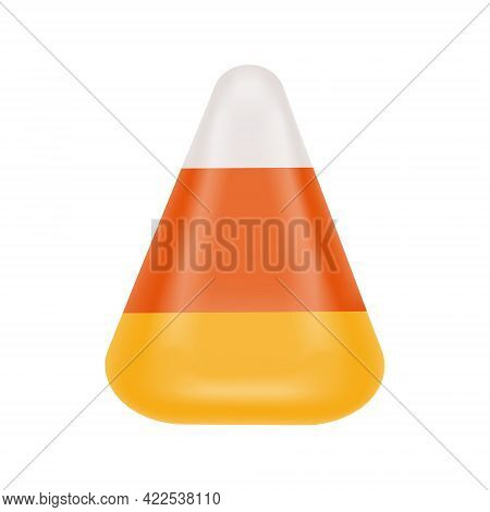 Candy Corn Isolated On White Background. Halloween Sweet Treat. Traditional American Fall Confection